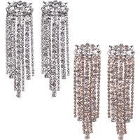Zinklegierung Tropfen Ohrring, mit Kristall, Messing Stecker, plattiert, für Frau & mit Strass, keine, frei von Nickel, Blei & Kadmium, 32x97mm, verkauft von Paar