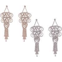 Zinklegierung Tropfen Ohrring, Messing Stecker, plattiert, für Frau & mit Strass, keine, frei von Nickel, Blei & Kadmium, 40x108mm, verkauft von Paar