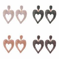 Zinklegierung Tropfen Ohrring, Messing Stecker, Herz, Rósegold-Farbe plattiert, für Frau & mit Strass, keine, frei von Nickel, Blei & Kadmium, 32x50mm, verkauft von Paar