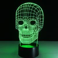 Nacht LED-Licht neben 3D-Lampe, Acryl, mit ABS Kunststoff, Schädel, automatisch die Farbe wechseln & verschiedene Stile für Wahl, 130x90x220mm, verkauft von PC