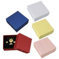 Karton Schmuckset Kasten, Papier, Fingerring & Ohrring & Halskette, mit Schwamm, Quadrat, keine, 75x75x34mm, 24PCs/Menge, verkauft von Menge