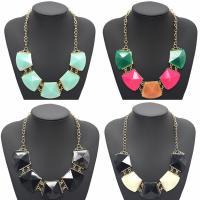 Acryl Halskette, Zinklegierung, mit Acryl, mit Verlängerungskettchen von 4.5cm, goldfarben plattiert, Twist oval & für Frau & facettierte, keine, frei von Blei & Kadmium, 37x45mm, verkauft per ca. 20.5 ZollInch Strang