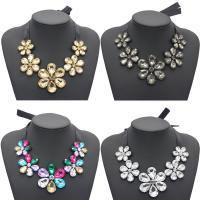 Kristall Halskette, Satinband, mit Baumwollsamt & Kristall, Blume, für Frau & facettierte, keine, 720mm, verkauft per ca. 28 ZollInch Strang