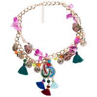 Zinklegierung Halskette, mit Nichtgewebte Stoffe & Nylonschnur & Muschel, mit Verlängerungskettchen von 3.14lnch, goldfarben plattiert, Twist oval & für Frau & Emaille, 103mm, verkauft per ca. 18.3 ZollInch Strang