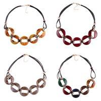 Zinklegierung Halskette, mit PU Leder & Acryl, mit Verlängerungskettchen von 1.9lnch, goldfarben plattiert, für Frau, keine, frei von Nickel, Blei & Kadmium, 40mm, verkauft per ca. 19.6 ZollInch Strang