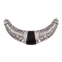 Mode Halskette unten, Zinklegierung, Mond, antik silberfarben plattiert, Emaille & gehämmert, frei von Blei & Kadmium, 110x60x7mm, Bohrung:ca. 1.5mm, verkauft von PC