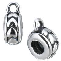 Edelstahl Kaution Perlen, mit einem Muster von Herzen & Schwärzen, 4.50x11.50x8.50mm, Bohrung:ca. 3.5mm, 2mm, 10PCs/Menge, verkauft von Menge