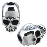 Edelstahl Perlen Einstellung, Schädel, Schwärzen, 10x16x11.50mm, Bohrung:ca. 3.5mm, Innendurchmesser:ca. 3mm, 10PCs/Menge, verkauft von Menge