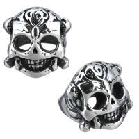 Edelstahl-Perlen mit großem Loch, Edelstahl, Schädel, Schwärzen, 12x12x13mm, Bohrung:ca. 8mm, 10PCs/Menge, verkauft von Menge
