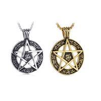 Herren-Strickjacke-Ketten-Halskette, Titanstahl, Pentagram, plattiert, poliert & Kastenkette & für den Menschen & Schwärzen, keine, 24x34mm, verkauft per ca. 24 ZollInch Strang