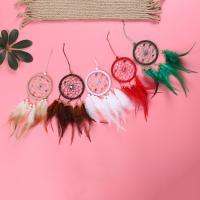 Fashion Dreamcatcher, Kunststoff, mit Feder & Nylonschnur & Glas-Rocailles, QuasteTroddel, keine, 75x300mm, verkauft von PC