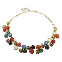 Harz Halskette, Zinklegierung, mit Harz, mit Verlängerungskettchen von 7cm, antike Goldfarbe plattiert, für Frau, frei von Blei & Kadmium, 29x30x7mm, verkauft per ca. 19.5 ZollInch Strang