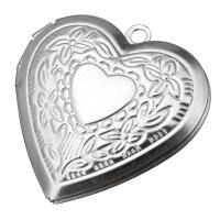 Edelstahl Medaillon Anhänger, Herz, originale Farbe, 29x29x7mm, Bohrung:ca. 2mm, Innendurchmesser:ca. 22x17mm, 10PCs/Menge, verkauft von Menge
