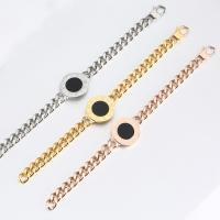 Titanstahl Armband, mit Schwarze Muschel, plattiert, Twist oval & für Frau, keine, 10mm, verkauft per ca. 8 ZollInch Strang