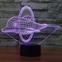 Nacht LED-Licht neben 3D-Lampe, ABS Kunststoff, mit Acryl, Dolphin, automatisch die Farbe wechseln & verschiedene Stile für Wahl, 246x87x203mm, verkauft von setzen