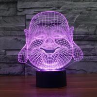 Nacht LED-Licht neben 3D-Lampe, ABS Kunststoff, mit Acryl, Buddha, automatisch die Farbe wechseln & verschiedene Stile für Wahl, 187x87x213mm, verkauft von setzen