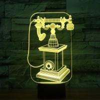 Nacht LED-Licht neben 3D-Lampe, ABS Kunststoff, mit Acryl, Telefon, automatisch die Farbe wechseln & verschiedene Stile für Wahl, 146x87x261mm, verkauft von setzen