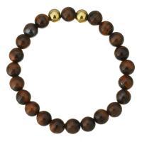 Natürliche Tiger Eye Armband, Tigerauge, mit Edelstahl, rund, goldfarben plattiert, für Frau, 8mm, verkauft per ca. 7 ZollInch Strang