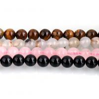 Mischedelstein Perlen, Edelstein, rund, verschiedenen Materialien für die Wahl, 12mm, Bohrung:ca. 1mm, ca. 31PCs/Strang, verkauft per ca. 15 ZollInch Strang