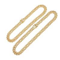 Messingkette Halskette, Messing, plattiert, unterschiedliche Länge der Wahl & Kandare Kette & Micro pave Zirkonia, keine, 13mm, verkauft von Strang