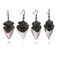 Natürliche Quarz Ohrringe, Messing, mit Amethyst, metallschwarz plattiert, für Frau, frei von Nickel, Blei & Kadmium, 55mm, verkauft von Paar