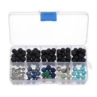 Natürliche Lava Perlen, mit Kunststoff Kasten & Impression Jaspis & Amazonit & Synthetische Türkis & Zinklegierung, rund, 8mm, Bohrung:ca. 1mm, verkauft von Box
