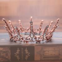 Zinklegierung Tiaras, mit Kristall, Krone, antike Kupferfarbe plattiert, für Braut & facettierte & mit Strass, frei von Blei & Kadmium, 55mm, verkauft von PC