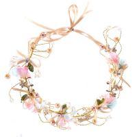 Seidenspinnerei Haarkranz, mit ABS-Kunststoff-Perlen & Satinband & Kristall, Blume, handgemacht, für Frau & facettierte, 45x260mm, verkauft von PC
