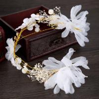 Seidenspinnerei Haarkranz, mit ABS-Kunststoff-Perlen & PE Schaumstoff & Kristall, Blume, handgemacht, für Frau & facettierte, 60x390mm, verkauft von PC