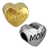Edelstahl European Perlen, Herz, Wort mom, plattiert, ohne troll, keine, 12x10.50x8mm, Bohrung:ca. 5mm, 10PCs/Tasche, verkauft von Tasche