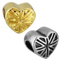 Edelstahl European Perlen, Herz, plattiert, ohne troll, keine, 11.50x10.50x8mm, Bohrung:ca. 5mm, 10PCs/Tasche, verkauft von Tasche