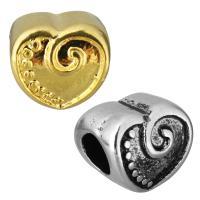 Edelstahl European Perlen, Herz, plattiert, ohne troll, keine, 10x10x9mm, Bohrung:ca. 5mm, 10PCs/Tasche, verkauft von Tasche