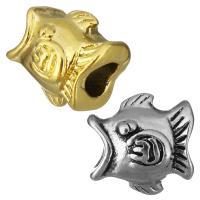Edelstahl European Perlen, Fisch, plattiert, ohne troll, keine, 14x13x12mm, Bohrung:ca. 5mm, 10PCs/Tasche, verkauft von Tasche