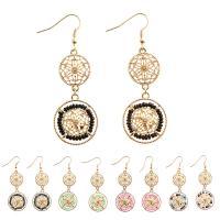 Zinklegierung Tropfen Ohrring, mit Glas-Rocailles, Eisen Haken, Kreisring, goldfarben plattiert, für Frau, keine, frei von Blei & Kadmium, 10-30mm, verkauft von Paar