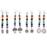 Edelstein Ohrringe, Messing, mit Edelstein, antik silberfarben plattiert, verschiedene Stile für Wahl & für Frau, verkauft von Paar