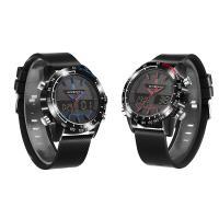 JeiSo® Unisex Uhr, Silikon, mit Glas & Edelstahl & Zinklegierung, schwärzen, LED & glänzend, keine, 46x16mm, Länge:ca. 9 ZollInch, verkauft von PC