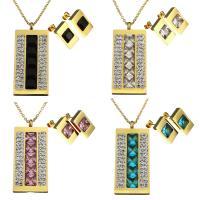 Edelstahl Mode Schmuckset, Ohrring & Halskette, mit Ton & Kristall, Rechteck, goldfarben plattiert, Oval-Kette & für Frau & facettierte, keine, 22x48mm, 2mm, 10x17mm, Länge:ca. 17 ZollInch, verkauft von setzen