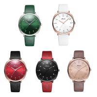 MEIBIN® Damen Schmuck Uhren, PU Leder, mit Glas & Edelstahl, plattiert, für Frau & mit Strass, keine, 35x9mm, Länge:ca. 8 ZollInch, verkauft von PC