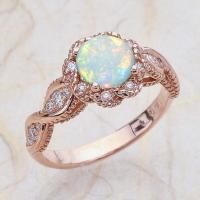 Messing Fingerring, mit Opal, Rósegold-Farbe plattiert, verschiedene Größen vorhanden & für Frau & mit Strass & hohl, frei von Nickel, Blei & Kadmium, verkauft von PC