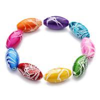 Harz Schmuckperlen, Pferdeauge, gemischte Farben, 10x18mm, Bohrung:ca. 1.5mm, 50PCs/Tasche, verkauft von Tasche