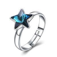 comeon® Finger-Ring, 925 Sterling Silber, mit CRYSTALLIZED™, Stern, platiniert, einstellbar & für Frau, 11mm, Größe:8, verkauft von PC