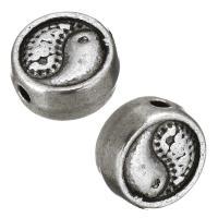 Zinklegierung flache Perlen, flache Runde, antik silberfarben plattiert, Tai Ji, frei von Nickel, Blei & Kadmium, 8x8x4mm, Bohrung:ca. 1mm, 100PCs/Menge, verkauft von Menge