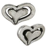 Zinklegierung Herz Perlen, antik silberfarben plattiert, frei von Nickel, Blei & Kadmium, 14x9x3mm, Bohrung:ca. 1mm, 100PCs/Menge, verkauft von Menge
