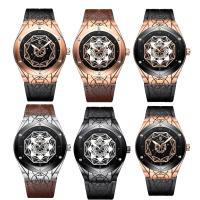 TEVISE® Uhrenkollektion, Kuhhaut, mit Zinklegierung Zifferblatt & Glas, plattiert, stem-Winder & einstellbar & für den Menschen & wasserdicht, keine, 44.2x15.8mm, Länge:ca. 10 ZollInch, verkauft von PC