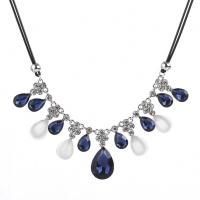 Zinklegierung Halskette, mit Gewachste Hanfschnur & Kristall, mit Verlängerungskettchen von 5cm, metallschwarz plattiert, für Frau & mit Strass, frei von Blei & Kadmium, 50cm, verkauft per ca. 19.5 ZollInch Strang