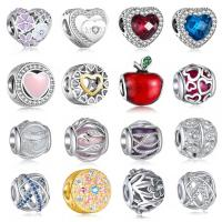 Messing European Perlen, plattiert, verschiedene Stile für Wahl & ohne troll & Emaille & mit kubischem Zirkonia & hohl, 10-14mm, Bohrung:ca. 4.5-4.8mm, verkauft von PC
