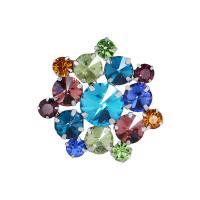 Zinklegierung Brosche, mit Kristall, Blume, silberfarben plattiert, für Frau & facettierte, 35x34mm, verkauft von PC