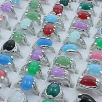 Zinklegierung Fingerring, mit Edelstein, Platinfarbe platiniert, für Frau & gemischt, frei von Blei & Kadmium, 19x24.5x14mm-23x28x13mm, Größe:6.5-11, 100PCs/Box, verkauft von Box