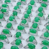 Zinklegierung Fingerring, mit Grüner Achat, Platinfarbe platiniert, Mischringgröße & für Frau, frei von Blei & Kadmium, 19x25x10mm-22.5x27x14mm, Größe:6.5-11, 100PCs/Box, verkauft von Box