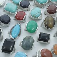 Zinklegierung Fingerring, mit Edelstein, Platinfarbe platiniert, Mischringgröße & für Frau & gemischt, frei von Blei & Kadmium, 20x25.5x21.5mm-22x23x37mm, Größe:6.5-11, 50PCs/Tasche, verkauft von Tasche